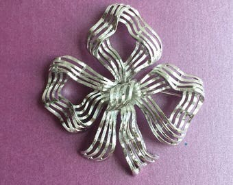 Signed Monet Silver Ribbon Brooch / Pin