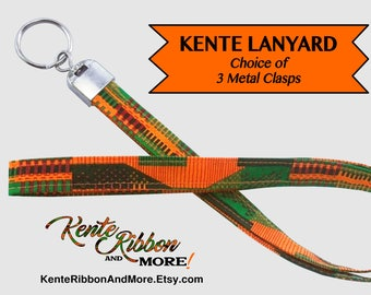 """KENTE LANYARD - 19"""" long x 5/8"""" - Metal Attachment Choices are - 1"""" Split Ring or Badge Clip or Lobster Claw Hook"""