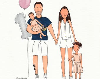 4 people - family custom - order - (size A4)