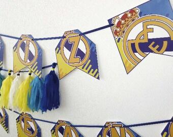 Real Madrid Birthday Banner - Real Madrid Birthday Banner - Madrid Banner - Real Madrid Birthday Party
