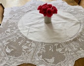 Vintage round crochet edged white tablecloth. 1940-1950's