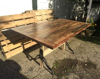 Salvaged Farmhouse Dinning Table Made From Repurposed Wood