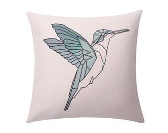 Geometric bird throw pillow covers Humming bird decorative pillow case Nordic simple bird cushion cover Linen cushion case home decor 18x18