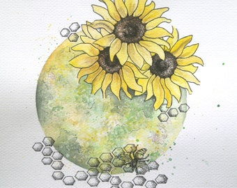 Moon print 'summer' Watercolour sunflower PRINT