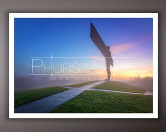 Misty landscape photography print, angel of the north foggy sunset image, golden hour photo, sunset shot