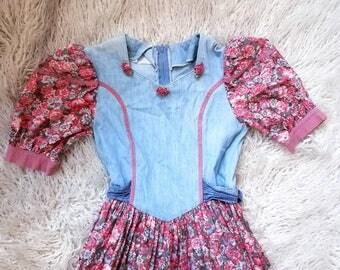 70s Prairie Dress Kawaii Lolita Square Dance Dress Size XXS