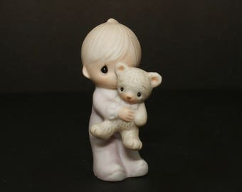 """Precious Moments """"Jesus Loves Me"""" - RETIRED, RARE (Miniature) - Little Boy In Pajamas Holding Teddy Bear"""