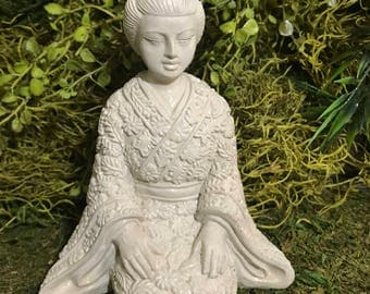 Concrete Geisha Girl Statue