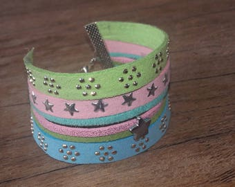 Cuff Bracelet star in green, pink and pastel blue