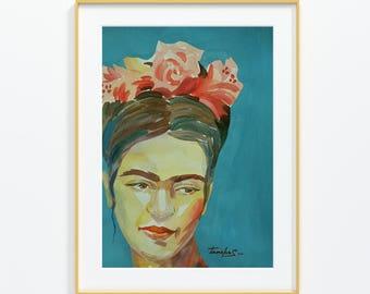 """Original watercolor,portrait, Frida Kahlo,Size: 9""""x 12''"""