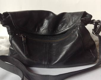 the sak | Genuine Black Leather Medium-Large Shoulder Bag / Crossbody Purse