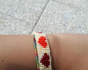 Woven beaded heart bracelet