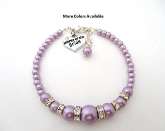 Lavender Purple Mother of the Bride Pearl & Crystal Rhinestone Charm Bracelet-Mother of the Bride Bracelet-Mother of the Bride Jewelry,B1472