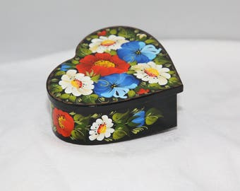 Petrykivka Hand-Painted Heart-shaped Trinket Box.