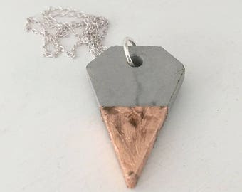 Concrete diamond shape pendant necklace