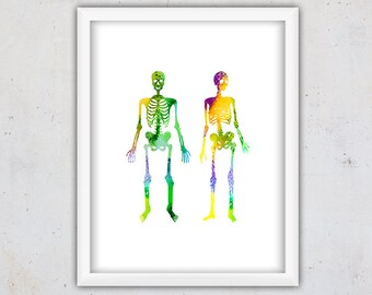 Watercolor Nursery Print, Anatomy Art Print, Room Decor, Nursery Printable, Wall Art, Human Skeleton Art Print, Instant Download Digital Art