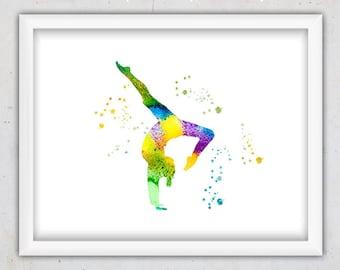 Wall Art Printable, Nursery Wall Decor, Watercolor Print, Gymnastics Print, Gymnast Art print, Girl Sport, Digital Download Art, Instant Art