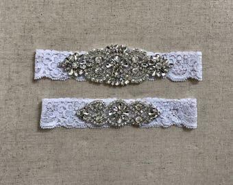 SALE - Wedding Garter Set, bridal garter set, vintage rhinestones, something blue