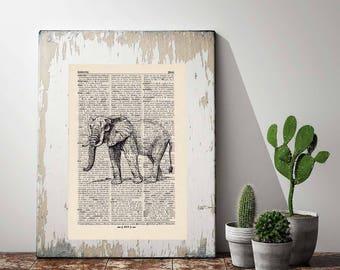 Pressure elephant antique book page - portrait