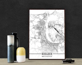 Rostock-Just a map-din A4/A3-Print