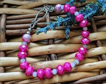 Pink Bead Bracelet, Pink Bracelet, Valentine's Gift For Her, Pink Jewelry, Rondelle Bracelet | Shop for a Cause  | Jewelry for a Cause