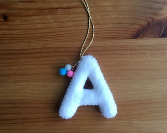 Pom Pom Alphabet Letter Christmas Decoration