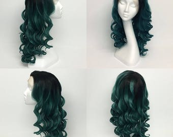 Dark Green ombré lace front wig