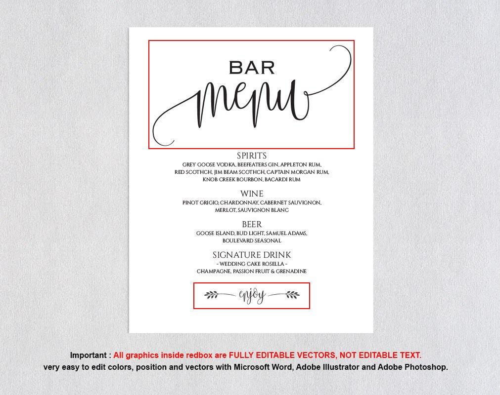 Wedding Drinks Sign Bar Menu Template 8x10