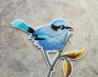 Bird Floral Patch Iron on Applique