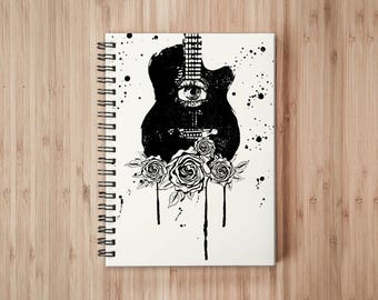 Guitar Rose Notebook/Sketchbook Wire Bound - Blank pages