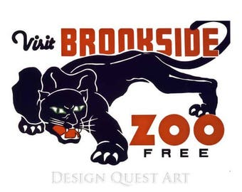 Brookfield Zoo Panther Travel Poster - Vintage Travel Print Art - Home Decor - Chicago, Illinois