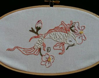 Koi Carp and Cherry Blossom Embroidery Hoop