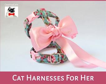 Fancy Princess Cat harness - Floral cat harness for girl cat - pink cat harness with bow - girl cat harness