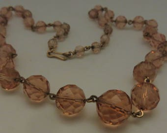 Vintage Art Deco Rolled gold & Bohemian Czech faceted blush pink crystal necklace