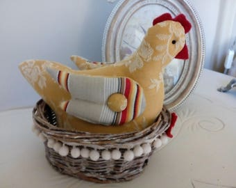 Hen in her basket vintage ticking