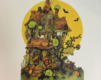 Vintage Halloween Paper Decoration Ghost Haunted House {Hallmark Company} Paper/Cardboard Die Cut Halloween Wall Hanging Decoration
