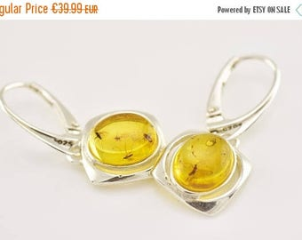 10% off Baltic Amber Jewelry Sterling Silver Earrings with FOSSIL INSECTS