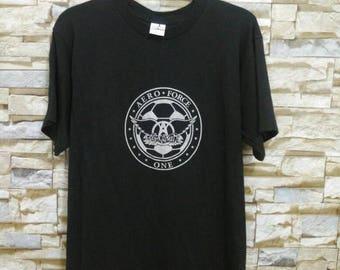 Vintage Aerosmith Shirt Aero Force One T-Shirt Tour Rock N Roll Aerosmith Medium