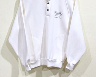Sale!!! Vintage 90's Ellesse Sweatshirt Snap Button Double Pocket Spellout Sportwear Pullover Embroidered Jumper Sweater Hip Hop