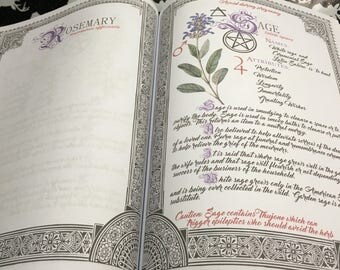 10 Herbarium Bundle #1  - INSTANT DOWNLOAD Book of Shadows Pages are 11 x 17 Fold out design