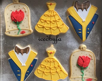 Beauty and the Beast Sugar Cookies   Perfect For Birthdays And Ather Celebrations   1 Dozen   Can Make Any Disney princess