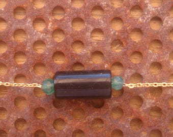 Black and green Onyx necklace gold plated