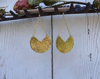 Hammered Brass Chain Moon Drop Earrings