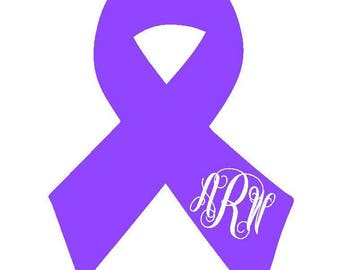 Awareness Ribbon Vinyl Decal | Cancer Awareness | Breast Cancer Ribbon | Monogram Decal | Personalized Ribbon Decal | Yeti | Car Decal