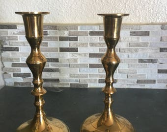 Set of 2 Brass Candlestick Holders