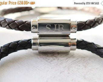 Summer Sale Boyfriend Gift - Mens Bracelet - Personalised Mens Leather Bracelet
