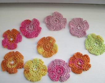 Lot 10 hooks cotton multicolored flowers