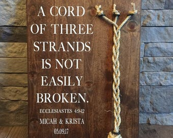 A Cord Of Three Strands Sign, A Cord of 3 Strands, Ecclesiastes 4:9-12, Wedding Ceremony Sign, Unity Ceremony Sign, Rustic Wedding Gift