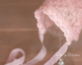 RTS Pink Felted Lace Vingtage Romantic Bonnet Newborn Size Photography Prop
