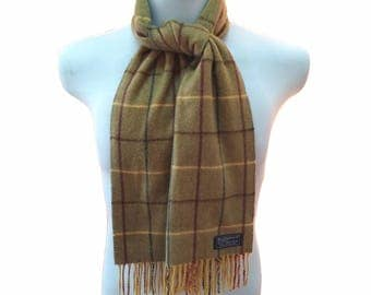 Hot Sale!!! Rare Vintage BURBERRYS Classic Check 100% Cashmere Scarf Muffler Foulard Shawl Made In England Approximate Size 12 x 54 Inches